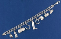 Traditional Charm Bracelet with 9 Horse Charms