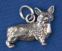 Sterling Silver Corgi Dog Charm or Pendant.