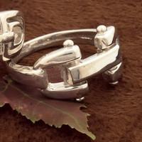 Sterling Silver Designer Style Bit RING