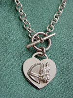 Sterling Silver Dressage Horse on Heart on Tiffany-Style Toggle Necklace