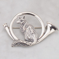 Sterling Silver Fox in Hunt Horn PIN
