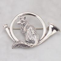 Sterling Silver Fox in Hunt Horn PIN