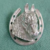 Sterling Silver Friesian Horse Head in Horseshoe Stock Pin