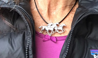 Sterling Silver Galloping Horses Pin or Pendant
