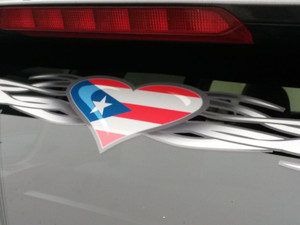 Tribal Heart  -  Windshiel decal - Puerto Rico Flag edition