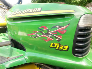 Confederate Flag  - Lawn Mower Flame decals - 3pc set
