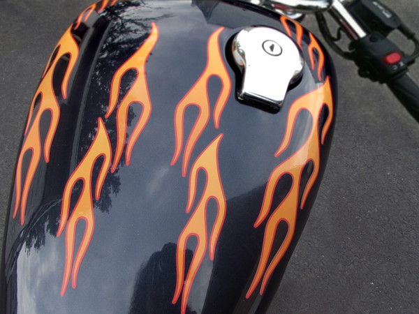 Old School Motorcycle Flames 28 Pc Set
