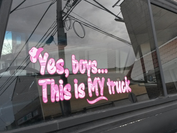 Yes Boys Its My Truck Pink Camo Window Decal