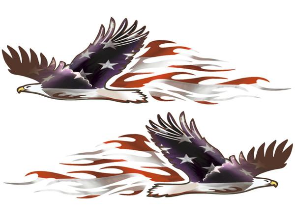 Patriotic Eagle Flames 2pc Set East Coast Vinyl Werkz