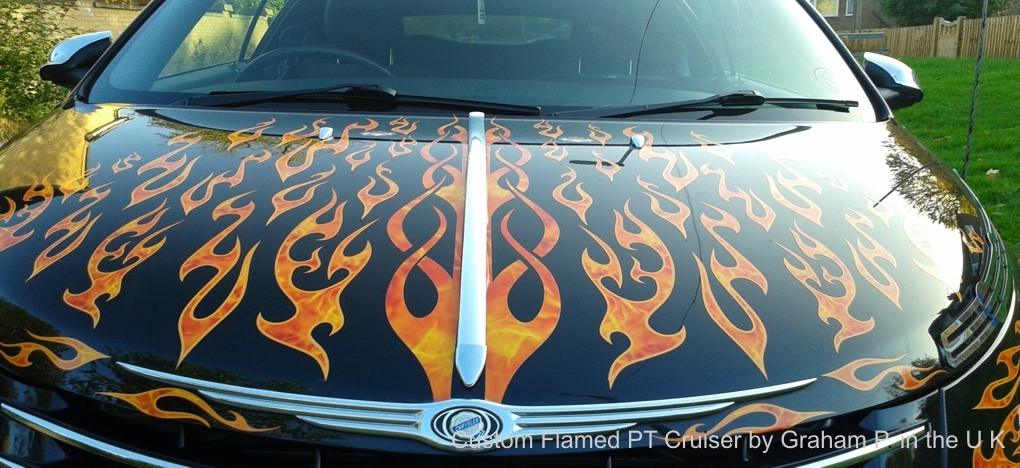 Harley sportster flames on PT Cruiser
