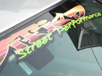 Modified street performance car decal on Chrysler 300
