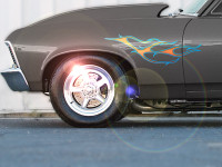 Slash stripe flame decals on Chevy Nova