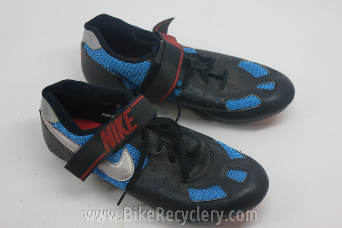 Vintage Nike Cycling Shoes Leather Blue Mesh Great Display