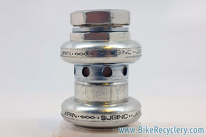 "Sugino Super Mighty Headset: Alloy, Drilled, 1"" Threaded, Silver, ABSURDLY RARE"