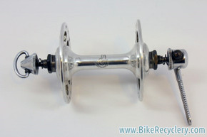 1972 Campagnolo Nuovo Tipo High Flange Front Hub & Flat Skewer: Kidney Cutouts, Special order for 1972/73 Motobecane Le Champion