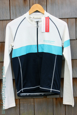Untouched World Long Sleeve Cycling Jersey: New Zealand Made - Merino Blend - White/Blue (NEW)
