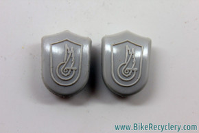 NOS Campagnolo Toe Strap Buttons / Caps - Grey (pair)