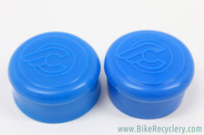 NOS Cinelli Rubber Handlebar End Caps: Flying C Logo - Royal Blue (Pair)