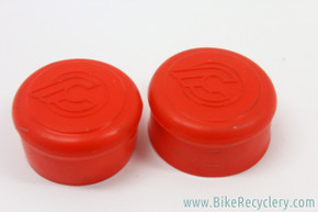 NOS Cinelli Rubber Handlebar End Caps: Flying C Logo - Red (Pair)