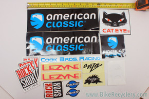 Vintage Bicycle Sticker Lot: Cook Brothers - Onza - Rockshox - American Classic...