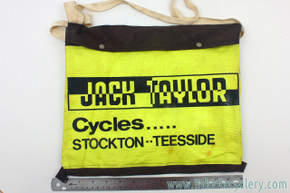 Jack Taylor Cycles Musette Bag: Canvas & Faux Leather - Yellow/Black - 1970's? - Beekay