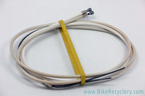 NOS Campagnolo C-Record (?) Brake Cable & Housing Set: White - Ferrules (Front & Rear)