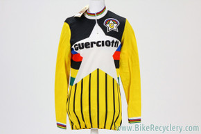 NOS Guerciotti Cycles Star Long Sleeve Cycling Jersey: Yellow w/ Stripes - Size Large / 4 - Tommaso - (RARE)