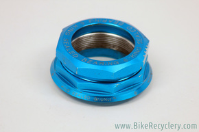 "1990's Chris King 2Nut 1 1/4"" Threaded Headset Top Nut, Race, & Collet: Cobalt Blue"