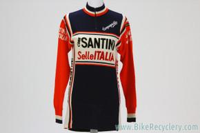 SANTINI Selle ITALIA Team Wool Jersey: Long Sleeve - Vintage 1970's/1980's (Size 4)