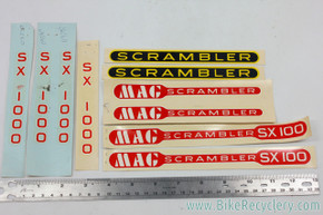 NOS Schwinn Mag Scrambler SX100 & SX1000 Decal Set- Red/Yellow/Black - 10pc - Original Factory Decals