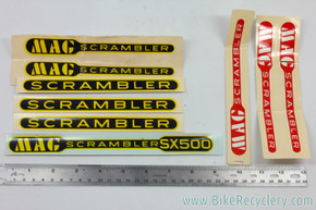 NOS Schwinn Scrambler & Mag Scrambler SX500 Decal Lot:  Red/Yellow/Black - 9pc - Original Factory Decals