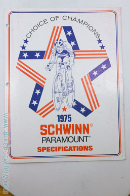 1975 Schwinn Paramount Specifications Catalog: 11p - Full Color - Rare