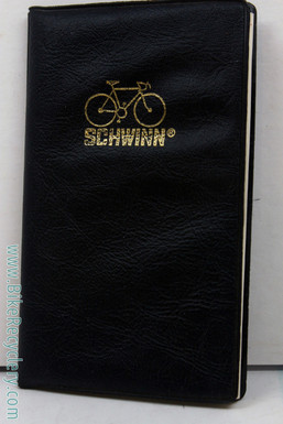 NOS Schwinn Cycles Pocket Planner: 1970's - Black Vinyl Cover