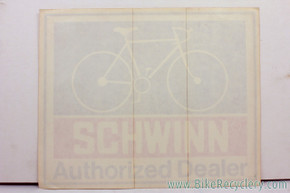 "NOS Schwinn Authorized Dealer Window Decal: 12"" x 9.5"" - 1970's (MINT)"