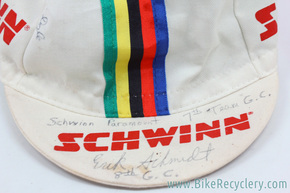 Autographed Schwinn Paramount Juvenile Team Cycling Cap: White w/ World Championship Stripes