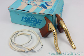 NIB/NOS Mafac Course 529 GOLD Brake Levers: Drilled - Cables/Housing (MINT)