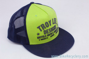 Troy Lee Designs Trucker Snapback Cap/Hat: Chartreuse Yellow & Dark Blue (NEW0