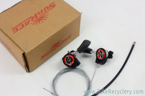 Sunrace Friction Thumb Shifters: SL-M10 - Cables - Black & Red (NEW)