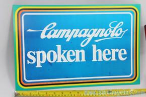 """Vintage Campagnolo Spoken Here Cardboard Dealer Sign: 16x10"""" - 1970's / 1980's - RARE (MINT)"""