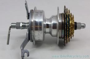 NOS Sachs Orbit HT Rear Hub: 2-speed Internal w/ Gold 5-Speed Cassette - Drum Brake - 36H
