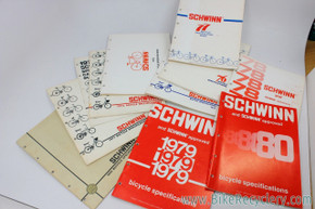 Schwinn Bicycle Specifications Catalog LOT: 1970 to 1980 - 11pc - Stock part specs for every bike model!
