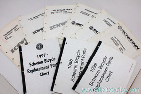 Schwinn Bicycle Repair Parts Specifications Catalog LOT: 1986 to 1999 - 10pc - Stock part specs for every bike model!