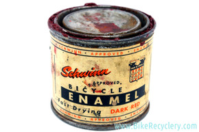 Antique Schwinn Enamel Paint Can: 1940's / 1950's - Dark Red - Advertising Display