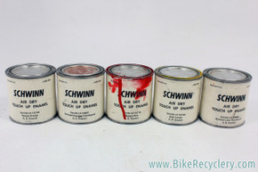 Schwinn Air Dry Touch Up A.D. Enamel Can Lot: 6ct - Paint Good - Vintage 1970's - Kool Lemon / NOS Sunset Orange / Flamboyant Brilliant Lime & Chestnut / Opaque Red