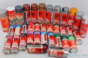Schwinn Spray Paint Cans LOT: 35ct - NOS Sunset Orange / Chrome / Chestnut... 13oz & 4oz - Lacquer & Hi Gloss Enamel - 1960's 1970's