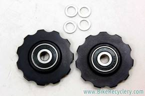 NOS Bullseye Jockey Wheel Pulleys: Black Anodized - Sealed Bearing - 11t