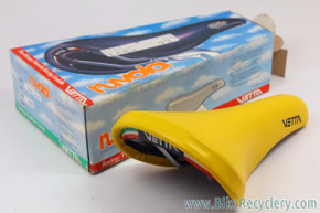 NIB/NOS Vetta Nuvola F. Moser Leather Saddle: Yellow - 1980's  RARE