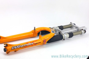 "Manitou X-Vert TPC Dual Crown Fork: FOR PARTS/DISPLAY - Works but Lowers Damaged - 1 1/8"" - Orange"