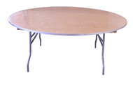 "72"" Round Wooden Table Straight View"