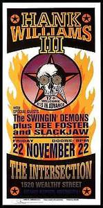 Hank Williams III Original Silkscreen Poster 2002 Signed by Mark Arminski